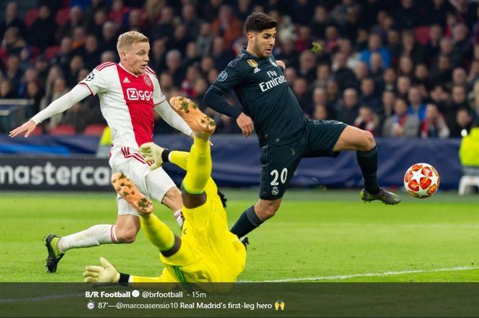 Marco Asensio saat mencetak gol ke gawang Ajax Amsterdamdi leg pertama 16 besar Liga Champions.