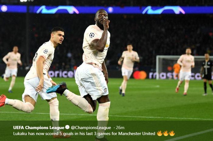 Striker Manchester United, Romelu Lukaku, merayakan gol yang dicetak ke gawang Paris Saint-Germain dalam laga leg kedua babak 16 besar Liga Champions di Stadion Parc des Princes, 6 Maret 2019.
