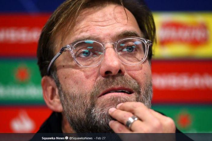 Pelatih Liverpool, Juergen Klopp, saat konferensi pers jelang pertandingan melawan Bayern Muenchen