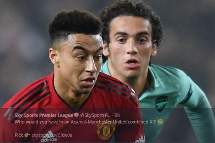 Gelandang Manchester United, Jesse Lingard sedang dibayang-bayangi pemain Arsenal, Matteo Guendouzi.