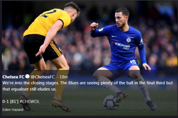 Winger Chelsea, Eden Hazard, dalam partai Liga Inggris melawan Wolverhampton di Stamford Bridge, Minggu (10/3/2019)