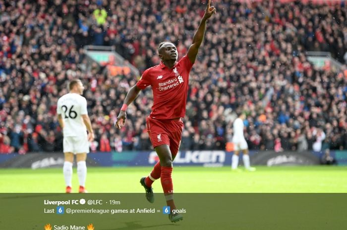 Sadio Mane membawa keunggulan Liverpool atas Burnley