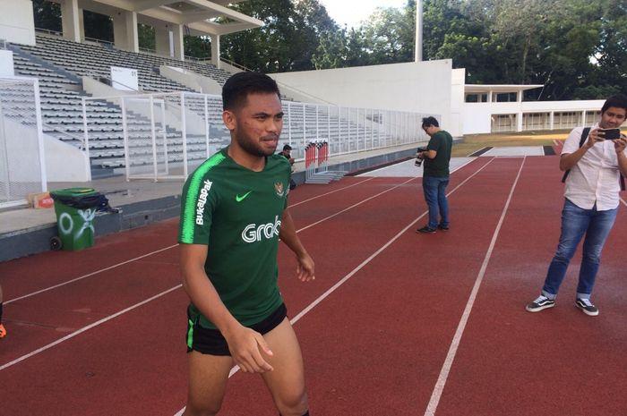 Penyerang timnas U-23 Indonesia, Saddil Ramdani dalam sesi latihan di Stadion Madya, Senayan, Jakarta, Senin (11/3/2019) sore.