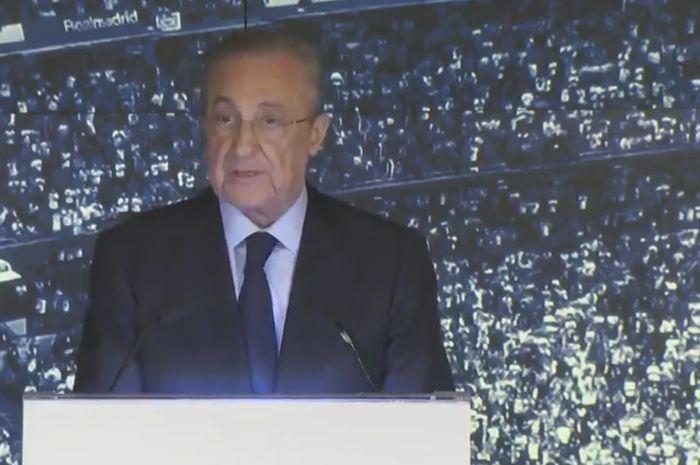 Presiden Real Madrid, Florentino Perez, berbicara dalam konferensi pers yang mengumumkan Zinedine Zidane sebagai pelatih baru El Real.