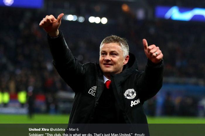 Pelatih interim Manchester United, Ole Gunnar Solskjaer saat merayakan kelolosan timnya ke perempat final Liga Champions di Parc des Princes