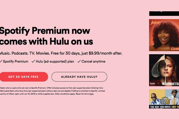 Spotify Premium Gandeng Hulu untuk Bonus Pelanggan Baru di AS