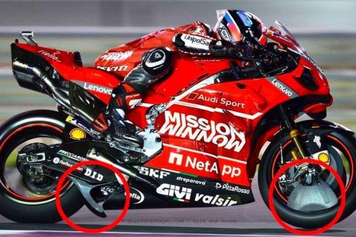 Dua komponen yang terpasang di motor Ducati dan diduga ilegal.