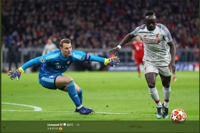 Penyerang Liverpool, Sadio Mane, menjebol gawang Bayern Muenchen dalam leg kedua babak 16 besar Liga Champions di Allianz Arena, Rabu (13/3/2019).