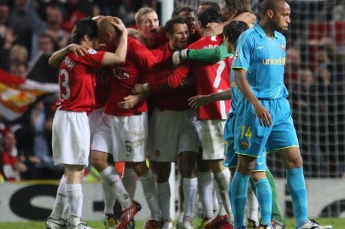 Manchester United saat berjumpa dengan Barcelona pada semifinal Liga Champions musim 2007-2008.