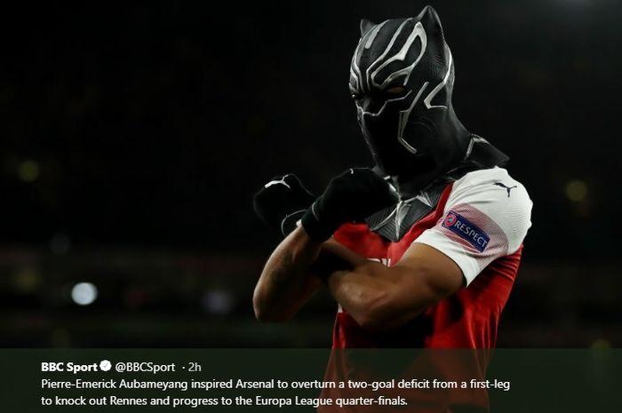 Selebrasi striker Arsenal, Piere-Emerick Aubameyang, menggunakan topeng Black Panther saat menghantar comeback Arsenal di Europa League
