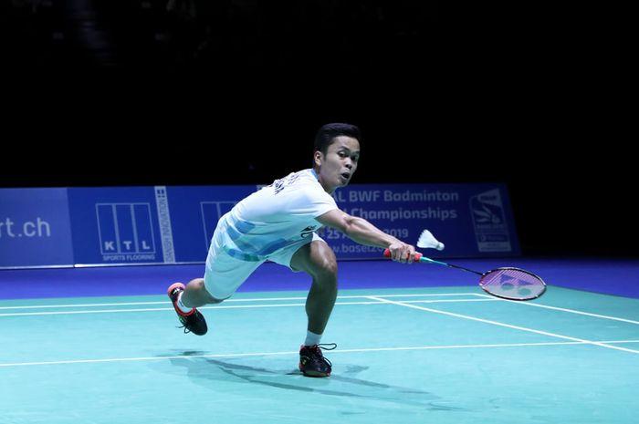 Penampilan pemain tunggal putra Indonesia, Anthony Sinisuka Ginting, pada babak semifinal Swiss Open 2019 di Basel, Swiss, Sabtu (16/3/2019).