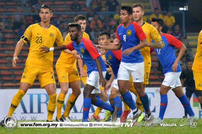 Para pemain timnas U-23 Australia saat menghadapi serangan timnas U-23 Malaysia di Stadion Shah Alam, Selangor, Minggu (17/3/2019).