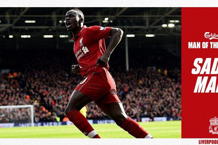 Penyerang Liverpool, Sadio Mane, merayakan gol yang dicetak ke gawang Fulham dalam laga Liga Inggris di Stadion Craven Cottage, Minggu (17/3/2019).