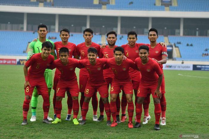 Skuat timnas U-23 Indonesia saat melawan Brunei Darussalam pada laga terakhir Grup K Kualifikasi Piala Asia U-23 2020 di Stadion Nasional My Dinh, Vietnam, Selasa (26/3/2019).