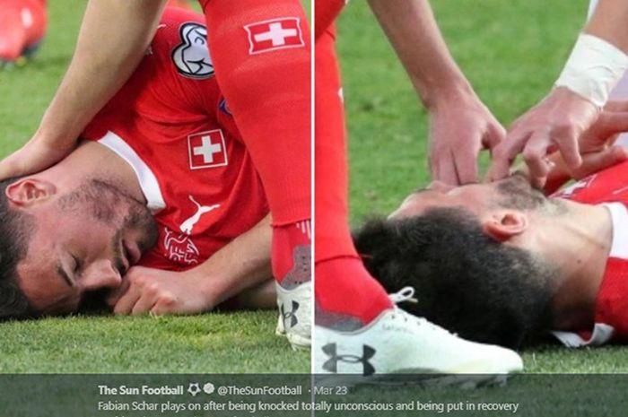 Bek Swiss, Fabian Schaer, tak sadarkan diri setelah mengalami benturan saat laga melawan Geogria pada Kualifikasi Piala Eropa 2020, 23 Maret 2019. (Gambar kanan) pemain Georgia mencoba menarik lidah Schaer untuk mencegahnya mengalami masalah lebih serius.