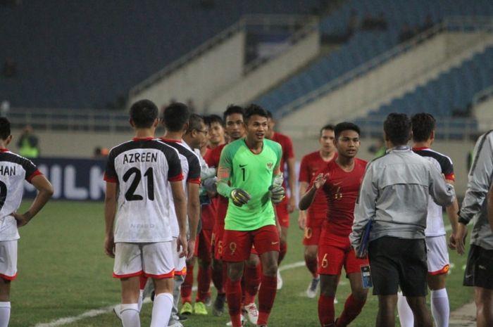 Skuat timnas U-23 Indonesia setelah melawan Brunei Darussalam.