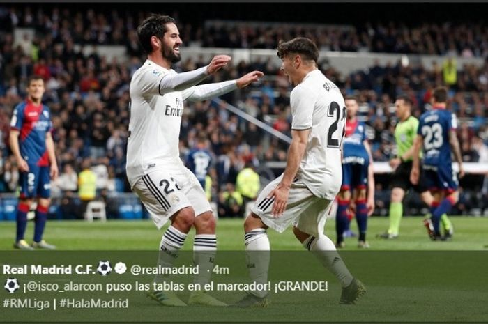 Gelandang Real Madrid, Isco, merayakan golnya ke gawang Huesca dalam partai Liga Spanyol di Estadio Santiago Bernabeu, Minggu (31/3/2019)