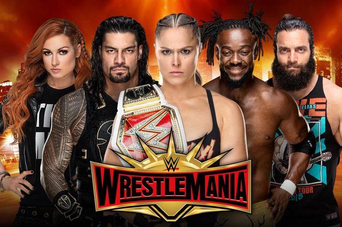 Salah satu poster WWE WrestleMania 35 yang dijadwalkan berlangsung pada Minggu (7/4/2019) malam waktu Amerika Serikat.
