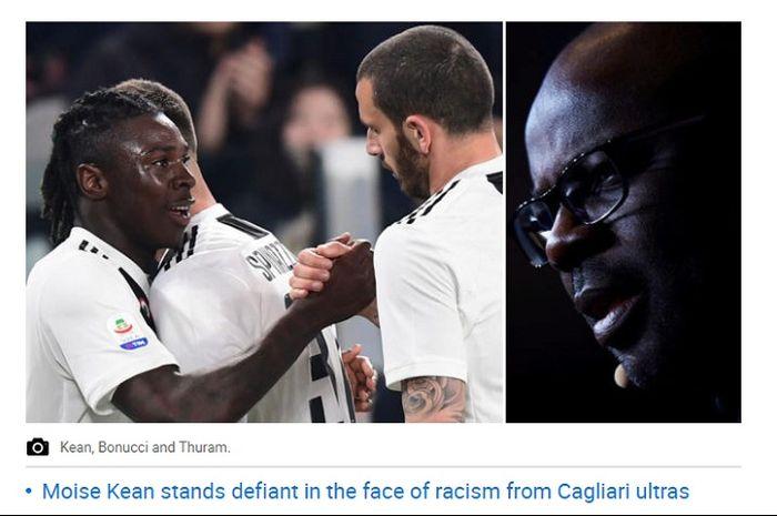 Lilian Thuram (kanan) buka suara terkait rasime yang diterima juniornya di Juventus, Moise Kean dan seolah tidak mendapat dukungan dari Leonardo Bonucci.