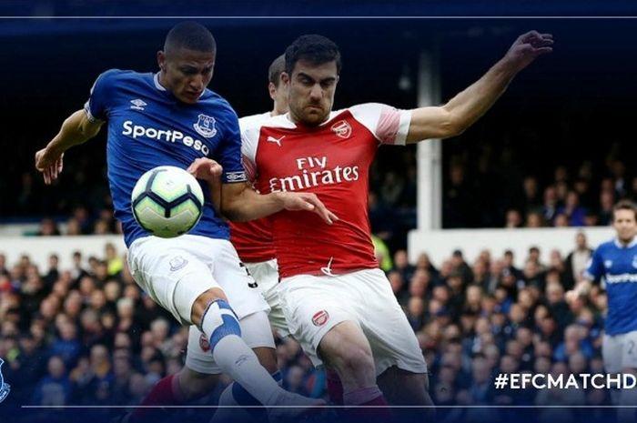 Laga Liga Inggris antara Evertoon dan Arsenal di Goodison Park, Minggu (7/4/2019)