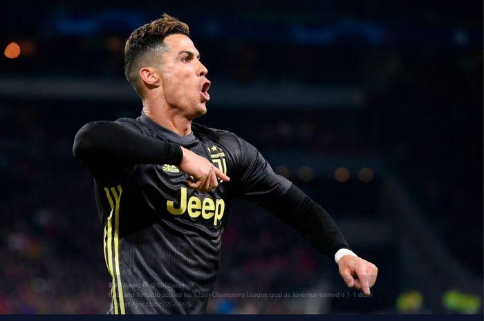 Cristiano Ronaldo saat merayakan golnya untuk Juventus.
