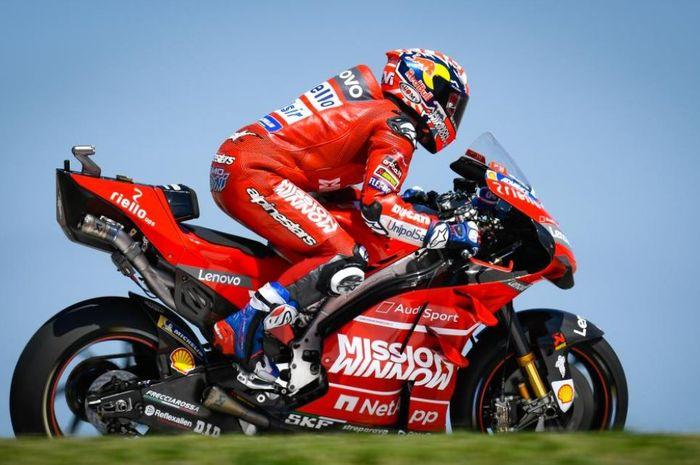 Andrea Dovizioso (Mission Winnow Ducati) saat beraksi pada sesi latihan bebas MotoGP Americas 2019, Jumat (12/4/2019)