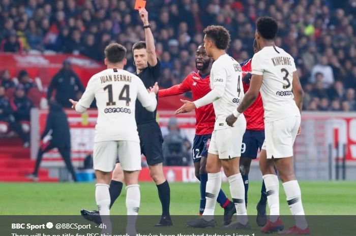 Juan Bernat menerima kartu merah saat Paris Saint-Germain dibantai Lille 1-5 pada lanjutan Liga Prancis