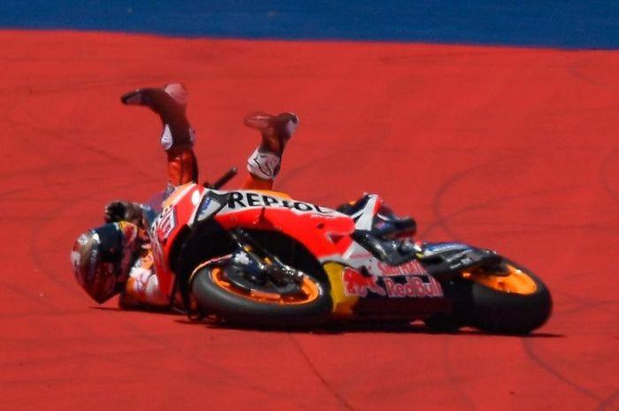 Marc Marquez terjatuh di MotoGP Amerika 2019