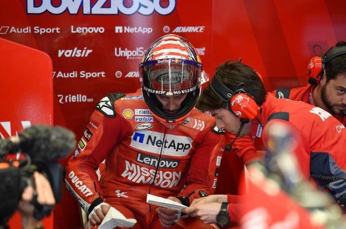 Pembalap Mission Winnow Ducati, Andrea Dovizioso tengah jalani persiapan pada MotoGP Americas 2019, Senin (15/4/2019) WIB.