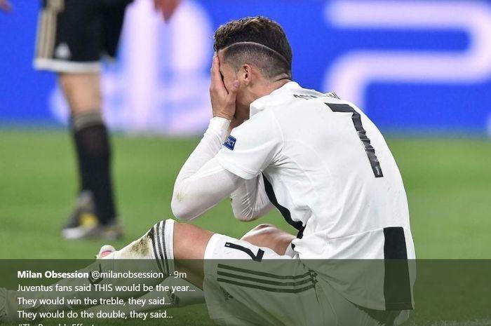 Cristiano Ronaldo tampak kecewa usai  Juventus disingkirkan Ajax Amsterdam  pada leg kedua perempat final Liga Champions