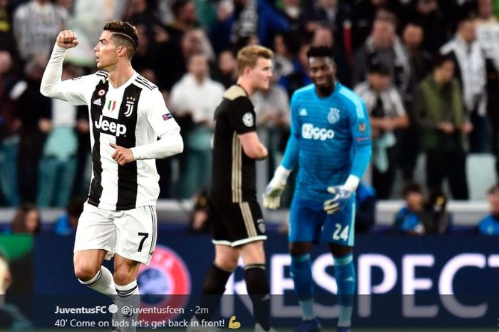 Megabintang Juventus, Cristiano Ronaldo, merayakan gol yang dicetak ke gawang Ajax Amsterdam dalam laga leg kedua perempat final Liga Champions di Stadion Allianz, Turin, Selasa (16/4/2019).