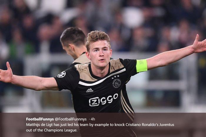 Bek muda Ajax Amsterdam, Matthijs de Ligt, merayakan gol kemenangan atas Juventus di babak perempat final Liga Champions.
