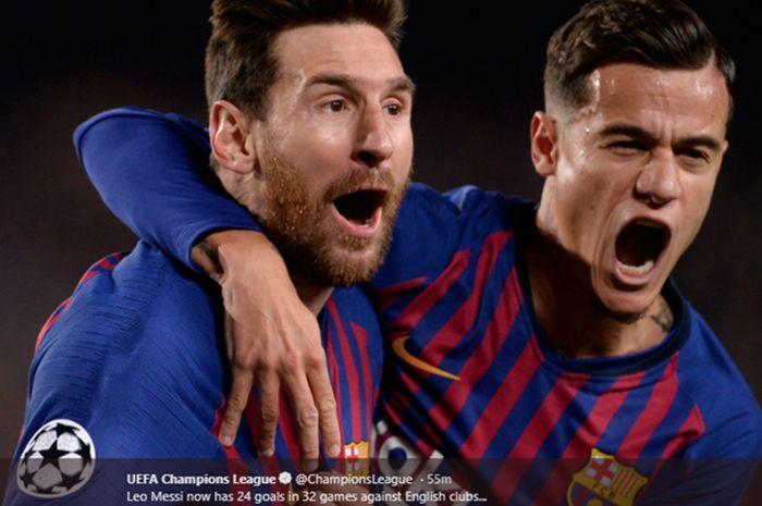 Selebrasi Lionel Messi dan Philippe Coutinho saat pertandingan Barcelona vs Manchester United pada leg kedua babak perempat final Liga Champions, 16 April 2019.