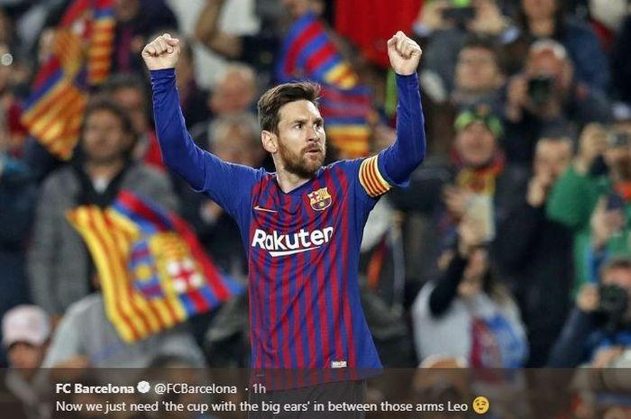 Megabintang Barcelona, Lionel Messi, merayakan gol yang dicetak ke gawang Manchester United dalam laga leg kedua perempat final Liga Champions di Stadion Camp Nou, Selasa (16/4/2019).