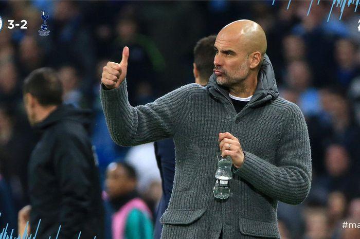 Ekspresi pelatih Manchester City, Pep Guardiola, dalam laga leg kedua perempat final Liga Champions melawan Tottenham Hotspur di Stadion Etihad, Rabu (17/4/2019).