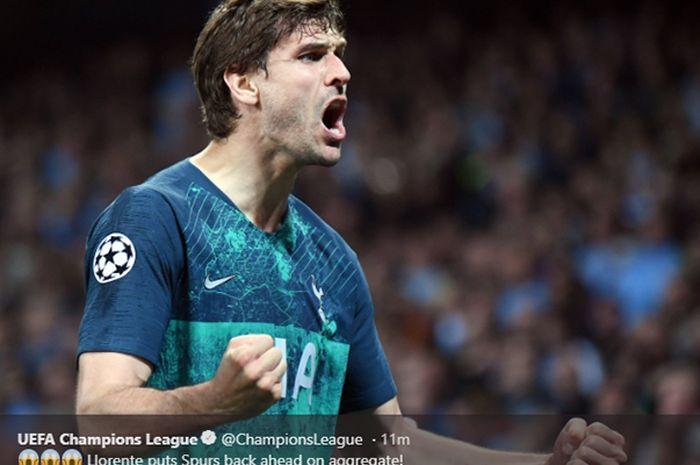 Selebrasi striker Tottenham Hotspur, Fernando Llorente, setelah mencetak gol ke gawang Manchester City dalam pertandingan leg kedua babak perempat final Liga Champions di Stadion Etihad, 17 April 2019.