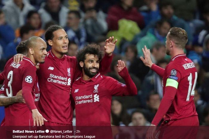 Para pemain Liverpool merayakan gol Virgil van Dijk usai menjebol gawang FC Porto pada pertemuan kedua perempat final Liga Champions