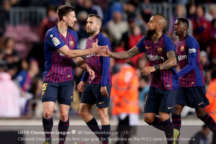 Barcelona mengalahkan Real Sociedad di Camp Nou, 20 April 2019.