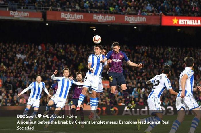 Clement Lenglet mencetak gol Barcelona ke gawang Real Sociedad, 20 April 2019.