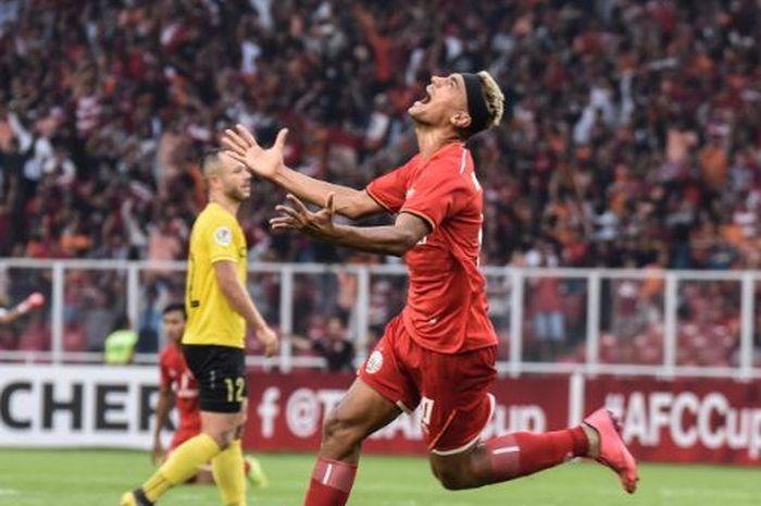Ekspresi penyerang Persija, Bruno Matos, setelah mencetak gol ke gawang Ceres Negros pada lanjutan Piala AFC 2019 di Stadion Utama Gelora Bung Karno, Selasa (23/4/2019).