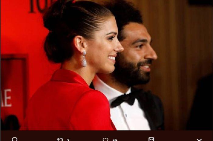 Mohamed Salah saat bersama pesepak bola perempuan asal Amerika Serikat, Alex Morgan di  Time 100 Gala yang digelar di New York City.