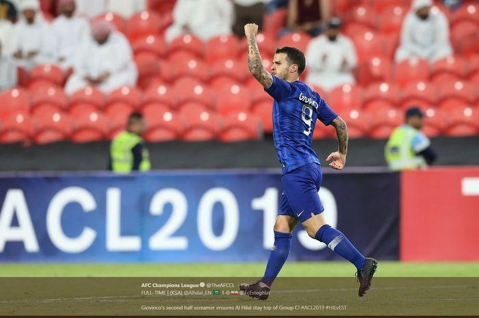 Sebastian Giovinco mencetak gol untuk Al-Hilal ke gawang Esteghlal dalam partai Liga Champions Asia, 23 April 2019.