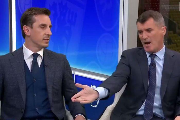 Dua mantan pemain Manchester United, Gary Neville dan Roy Keane, berargumen di studio Sky Sports saat menganisis Derbi Manchester, Kamis (25/4/2019) dini hari WIB.