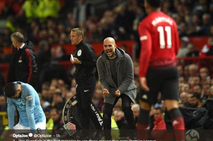 Pep Guardiola mencatatkan rekor kemenangan beruntun di Old Trafford sebanyak tiga kali di Liga Inggris