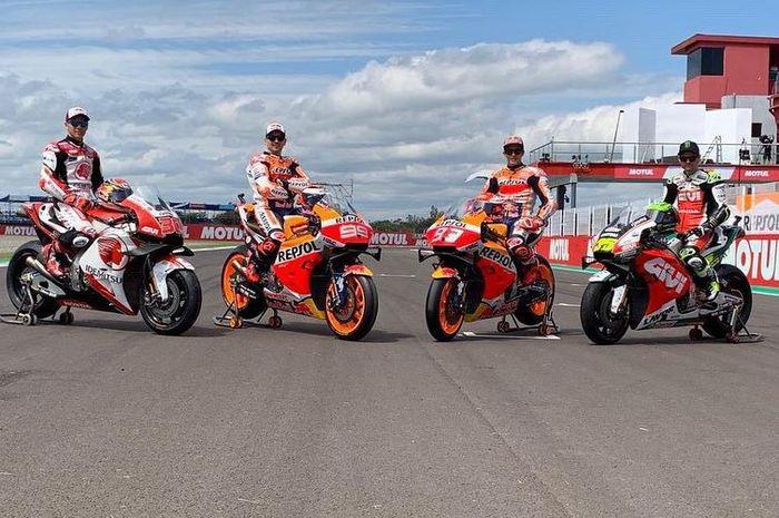 Para pembalap Honda pada MotoGP musim 2019 sedang berpose