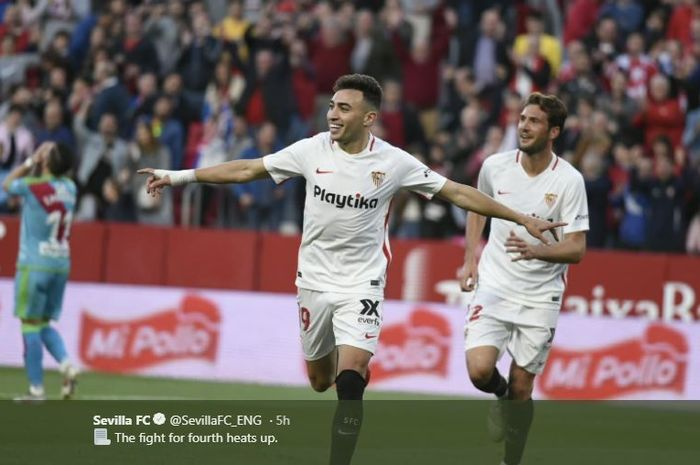 Striker Sevilla, Munir El Haddadi, merayakan gol yang dicetak ke gawang Rayo Vallecano dalam laga Liga Spanyol di Stadion Ramon Sanchez Pizjuan, Kamis (25/4/2019).