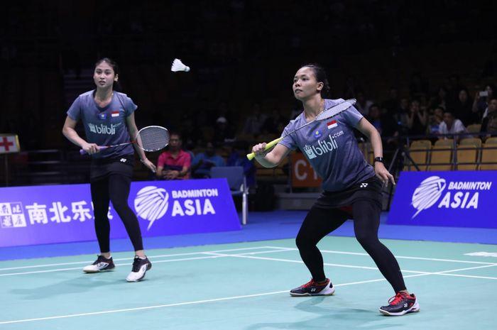 Pasangan ganda putri Indonesia, Della Destiara Haris/Rizki Amelia Pradipta saat berlaga di Kejuaraan Asia 2019, Sabtu (27/4/2019)