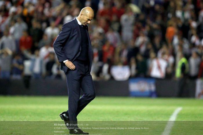 Reaksi pelatih Real Madrid, Zinedine Zidane.