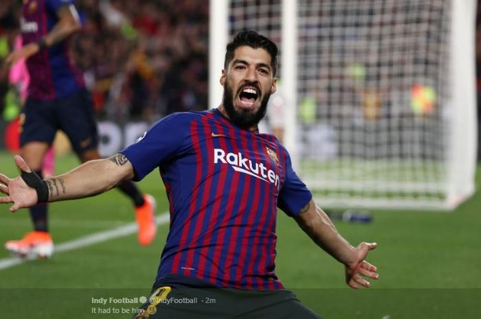 Striker FC Barcelona, Luis Suarez, mencetak gol dalam laga leg pertama semifinal Liga Champions kontra Liverpool FC di Stadion Camp Nou, 1 Mei 2019.