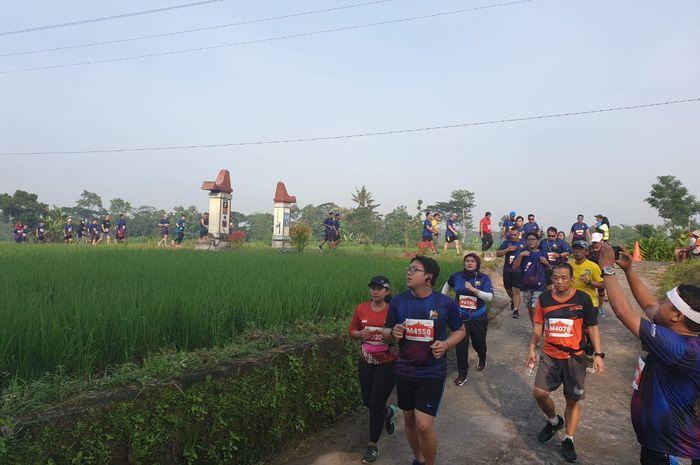 Para pelari Mandiri Jogja Marathon 2019 melintasi sawah di sebelah lintasan.